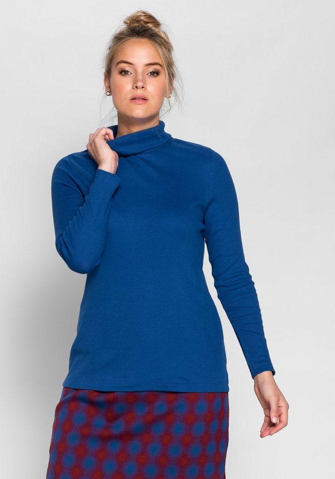 sheego Casual Rollkragenshirt aus Rippware in indigo