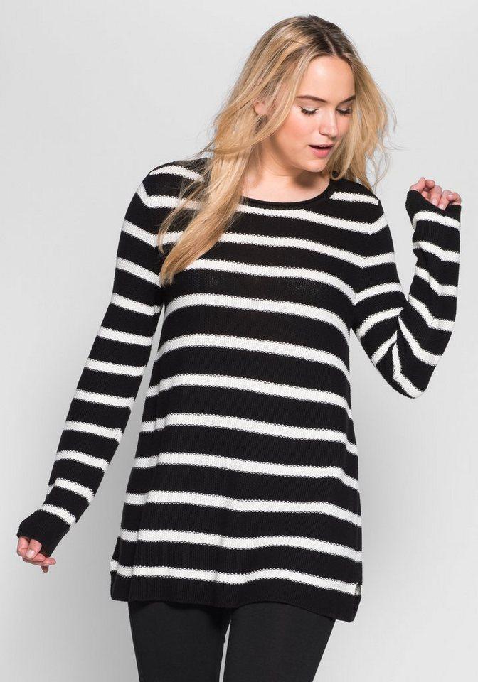 sheego Casual Pullover mit Streifen in schwarz-weiß