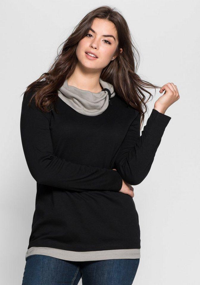 sheego Casual Shirt mit weitem Kragen in schwarz-grau