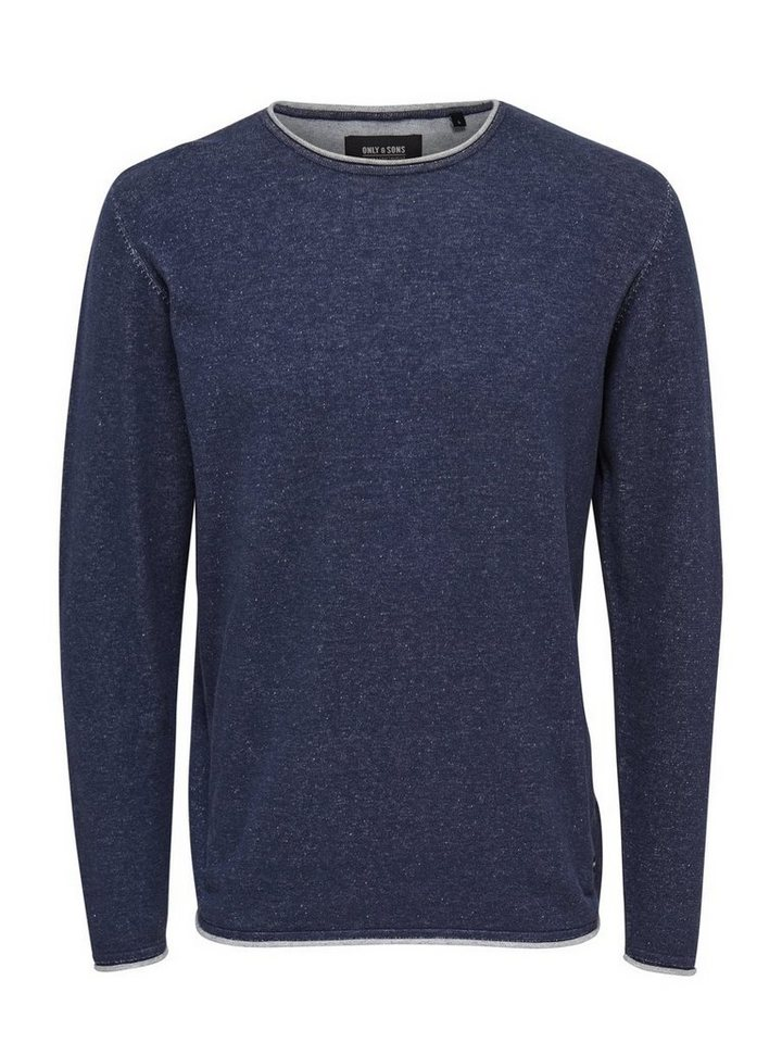 ONLY & SONS Einfarbiger Strickpullover in Dress Blues