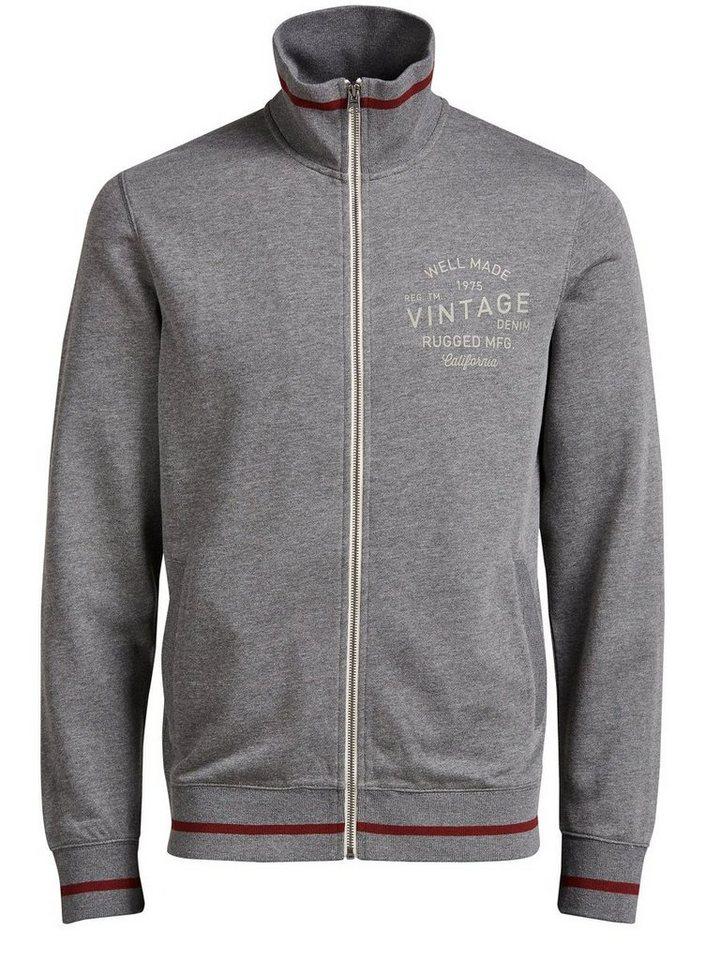 Jack & Jones High-Neck- Sweatshirt mit Reißverschluss in Grey Melange