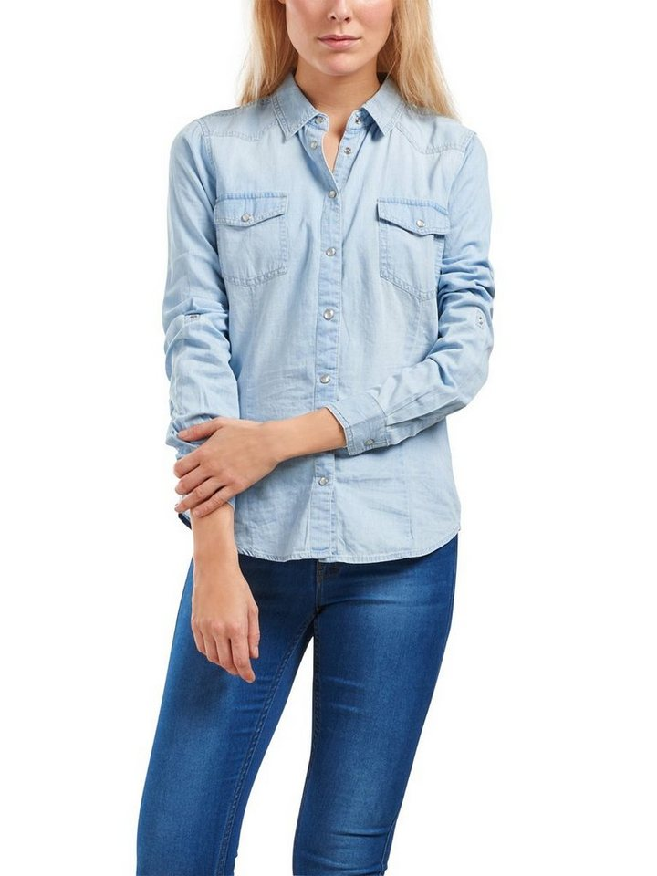 Only Langärmeliges Jeanshemd in Light Blue Denim