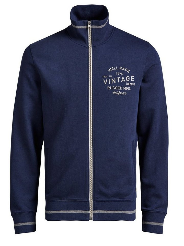 Jack & Jones High-Neck- Sweatshirt mit Reißverschluss in Mood Indigo