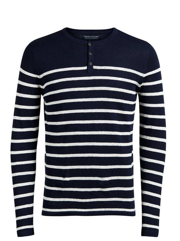 Jack & Jones Leinenmischfaser- Pullover in Navy Blazer
