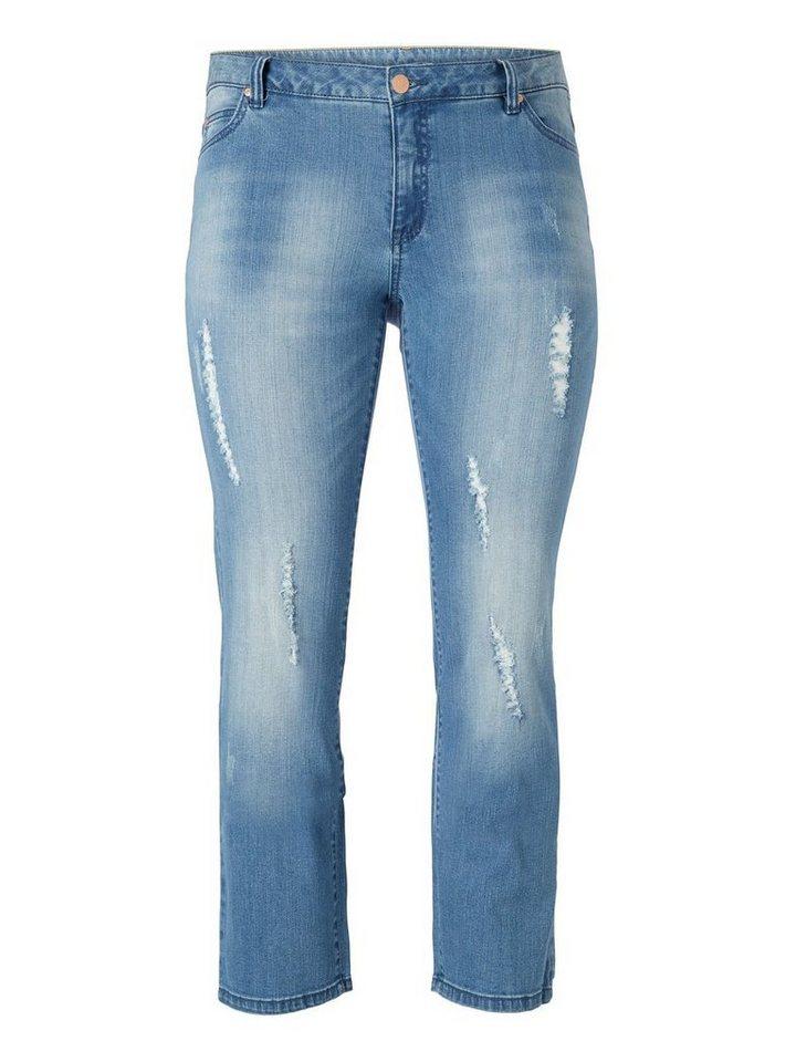 JUNAROSE JRA Normal waist Destroyed Straight fit jeans in Light Blue Denim
