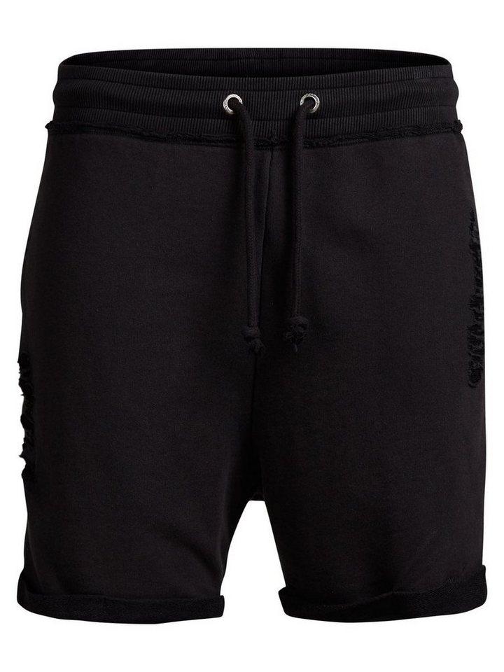 Jack & Jones Gerippte Sweatshorts in Black