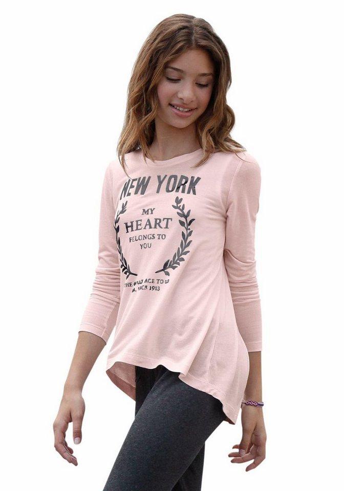 Bench Longshirt mit Foliendruck in rosa