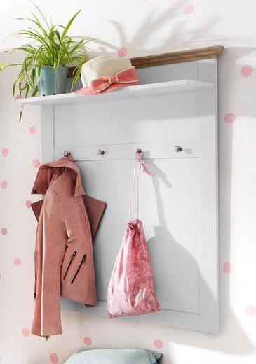 Home affaire Garderobenpaneel »Binz«, aus einer schönen Holzoptik, mit vier Haken und einer Ablagefläche