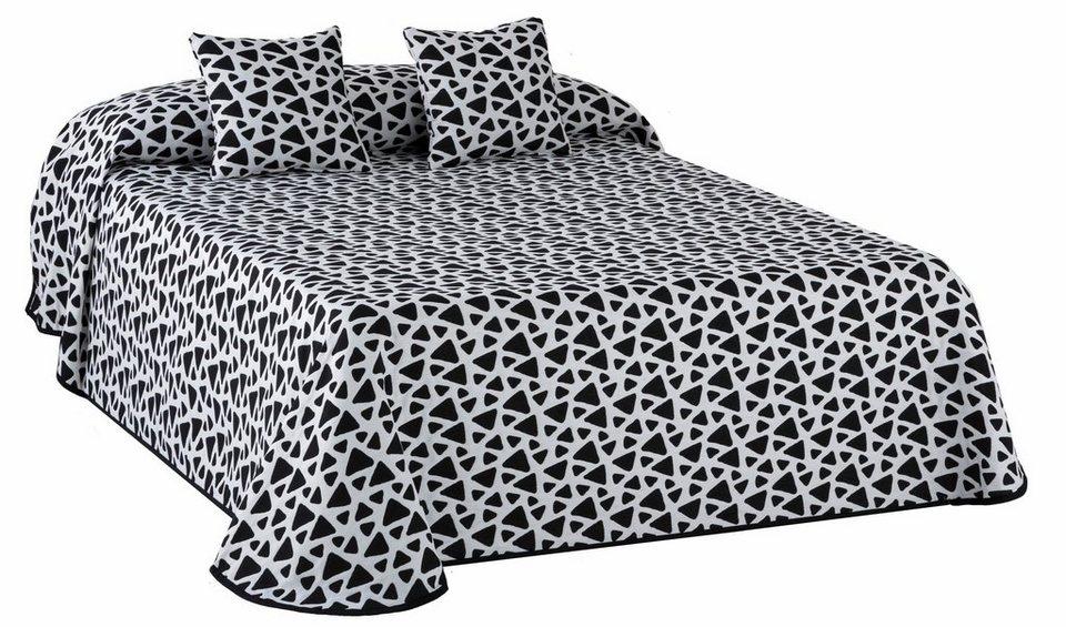 Tagesdecke, my home Selection, »Onix«, mit Dreieck-Muster in schwarz-weiß