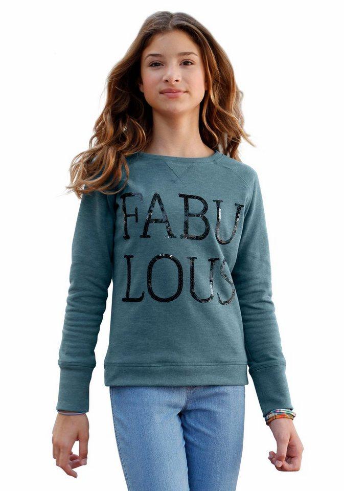 Arizona Sweatshirt mit Paillettenapplikation in petrol-meliert