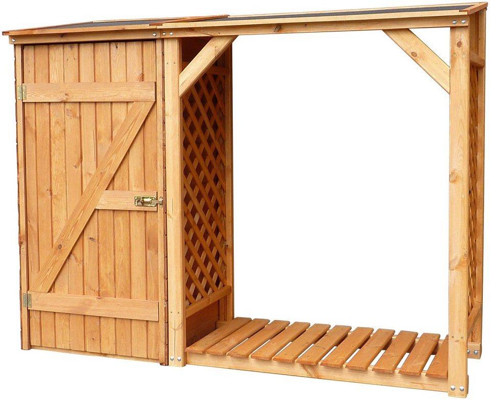 promadino kaminholzregal mit aufbewahrungsschrank speyer b t h 192 69 148 cm braun online. Black Bedroom Furniture Sets. Home Design Ideas