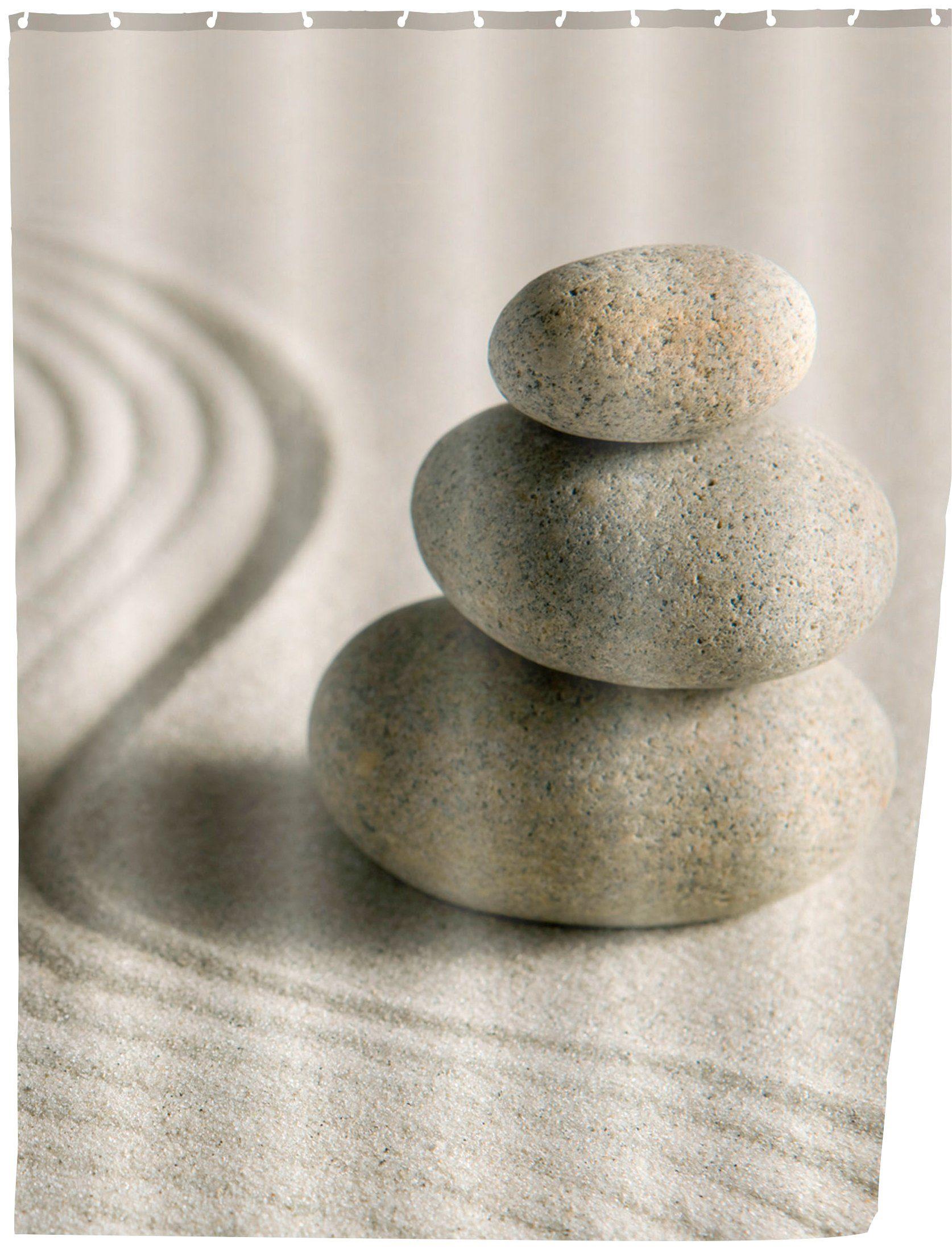 WENKO Duschvorhang »Sand and Stone«, Breite 180 cm