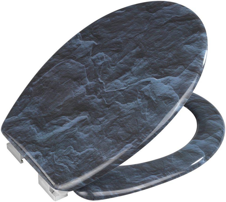 WC-Sitz »Slate Rock«, Mit Absenkautomatik in dunkelgrau/schwarz