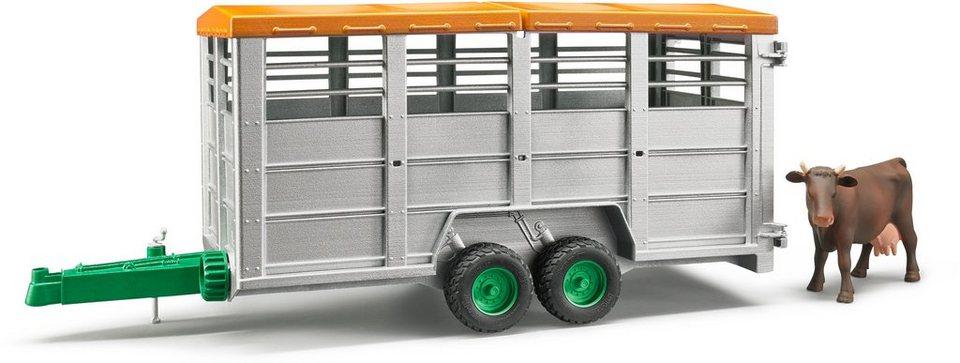 bruder® Spielfahrzeuganhänger mit abnehmbarem Dach, »Viehtransportanhänger mit 1 Kuh, Maßstab 1:16«