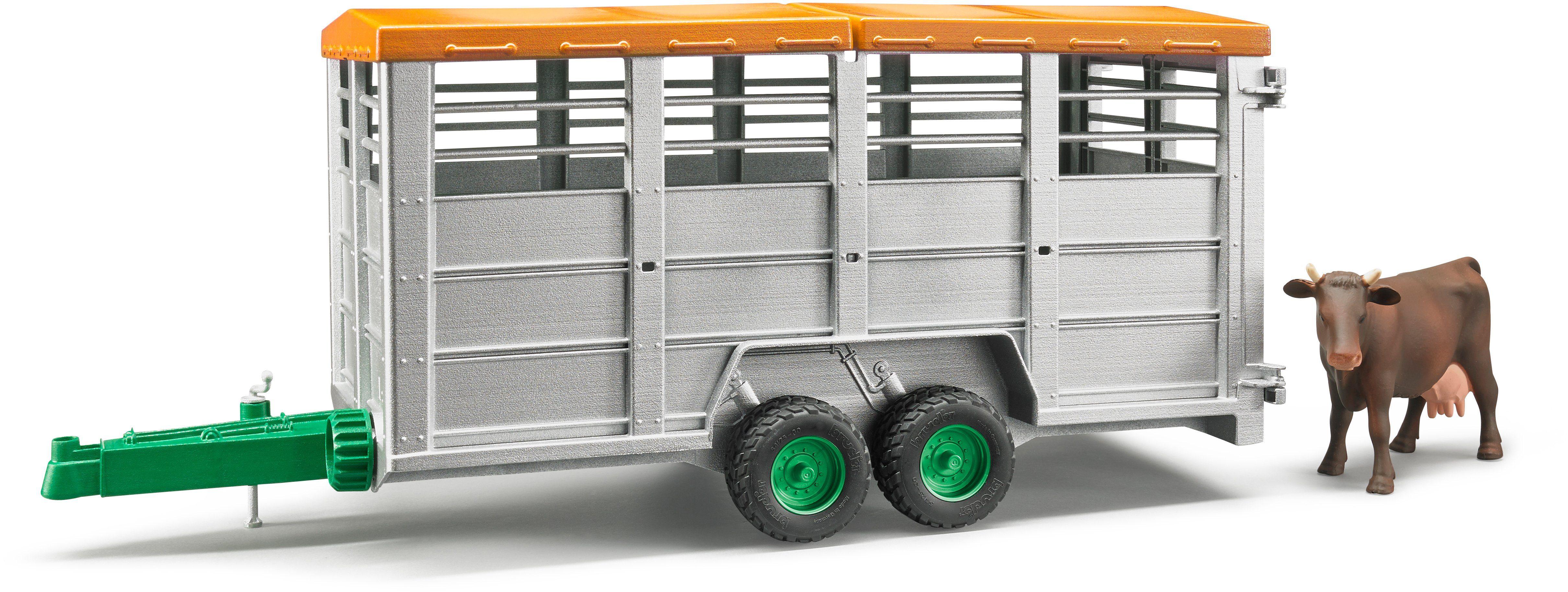 bruder® Spielfahrzeuganhänger mit abnehmbarem Dach 02227, »Viehtransportanhänger mit 1 Kuh, Maßstab 1:16«