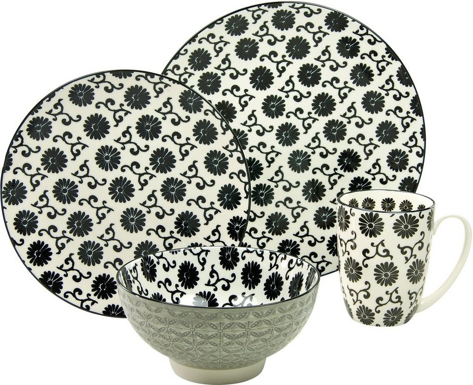 CreaTable Single Geschirr-Set, Steinzeug, 4-teilig, Dekor Flower, »New Style black« in schwarz/weiß