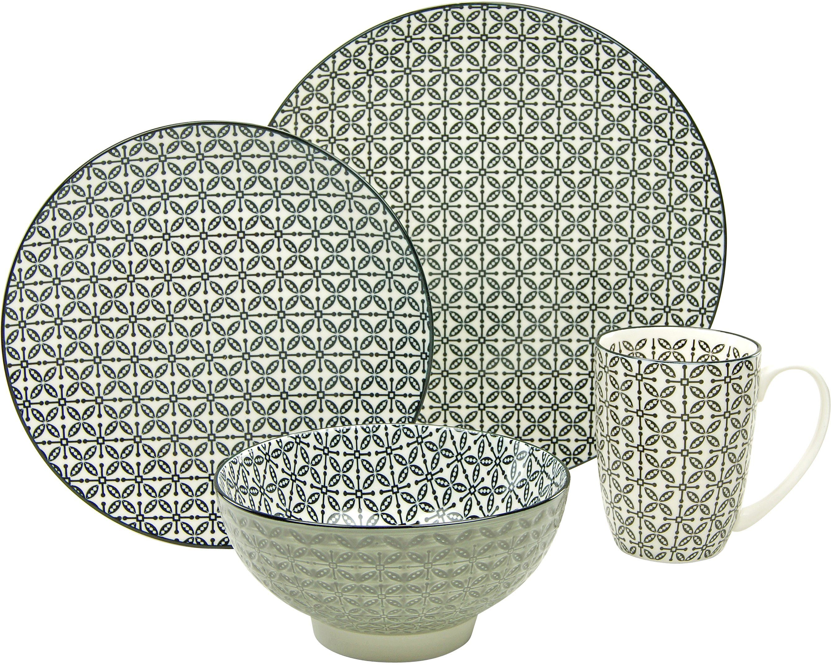 CreaTable Single Geschirr-Set, Steinzeug, 4-teilig, Dekor Cross, »New Style black«
