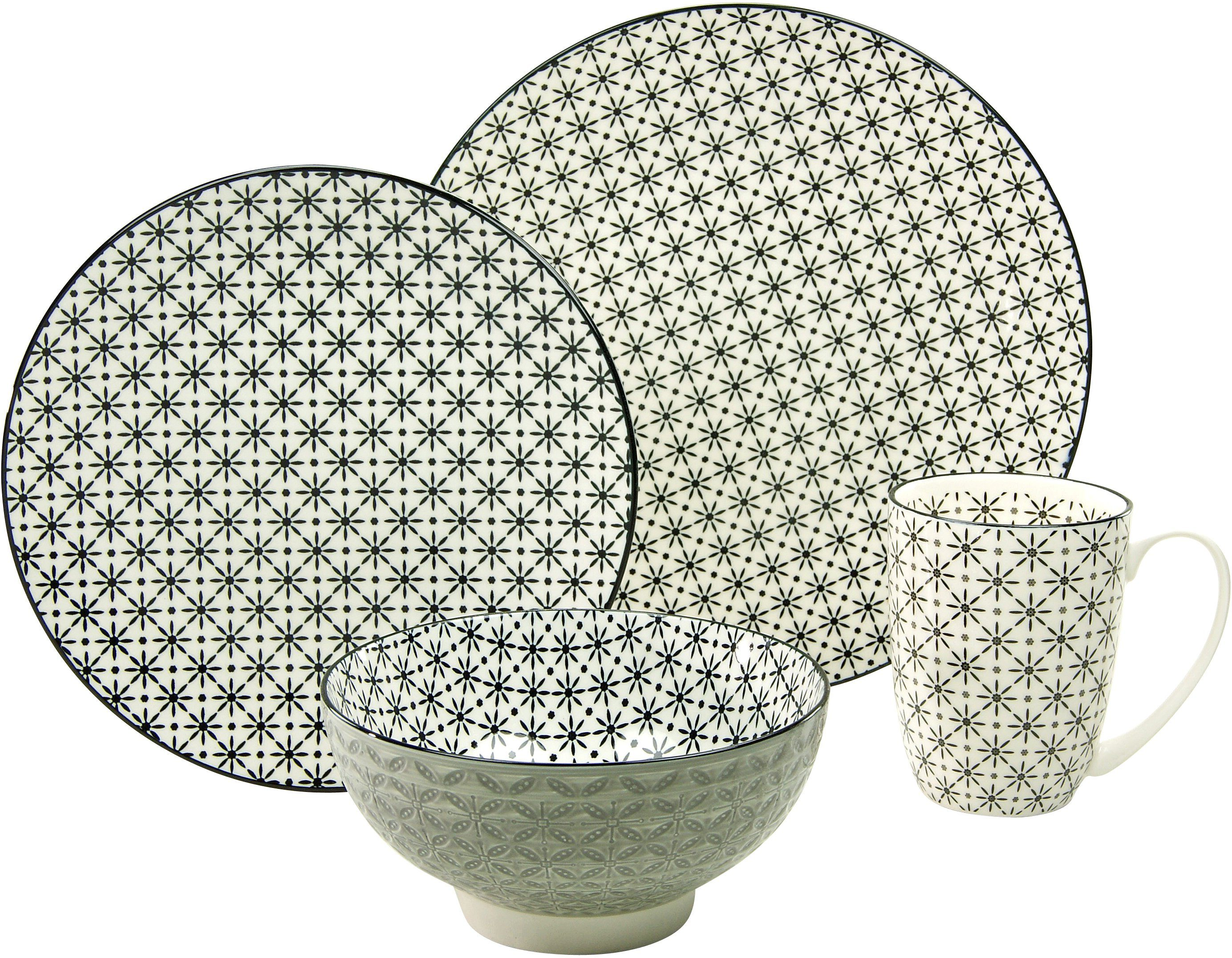 CreaTable Single Geschirr-Set, Steinzeug, 4-teilig, Dekor Star, »New Style black«