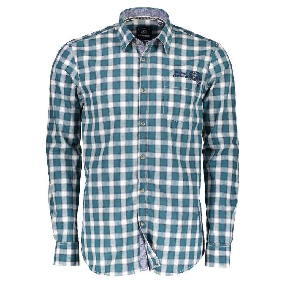 LERROS Langarmhemd mit Karo in GREEN