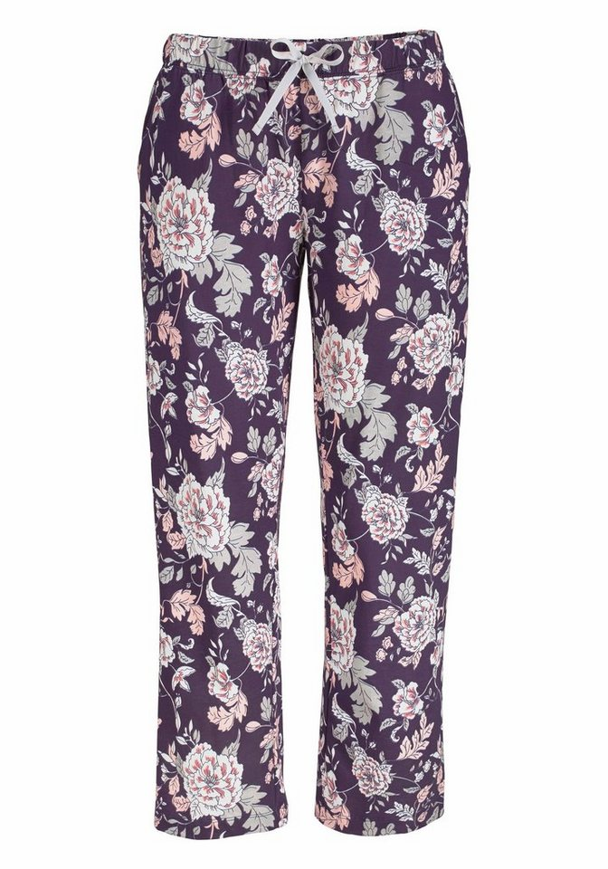 LASCANA 7/8-Pyjamahose »Lou« mit Alloverprint in geblümt