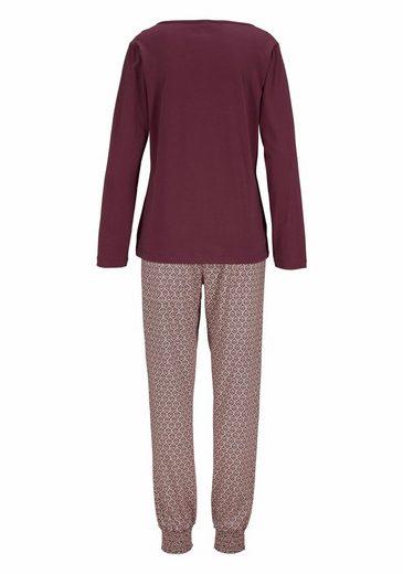s.Oliver RED LABEL Bodywear Moderner Pyjama mit gemusterter Hose und Langarmshirt