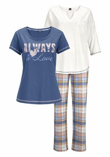 Arizona Pyjama-Set (3 Stück) mit karierter Hose