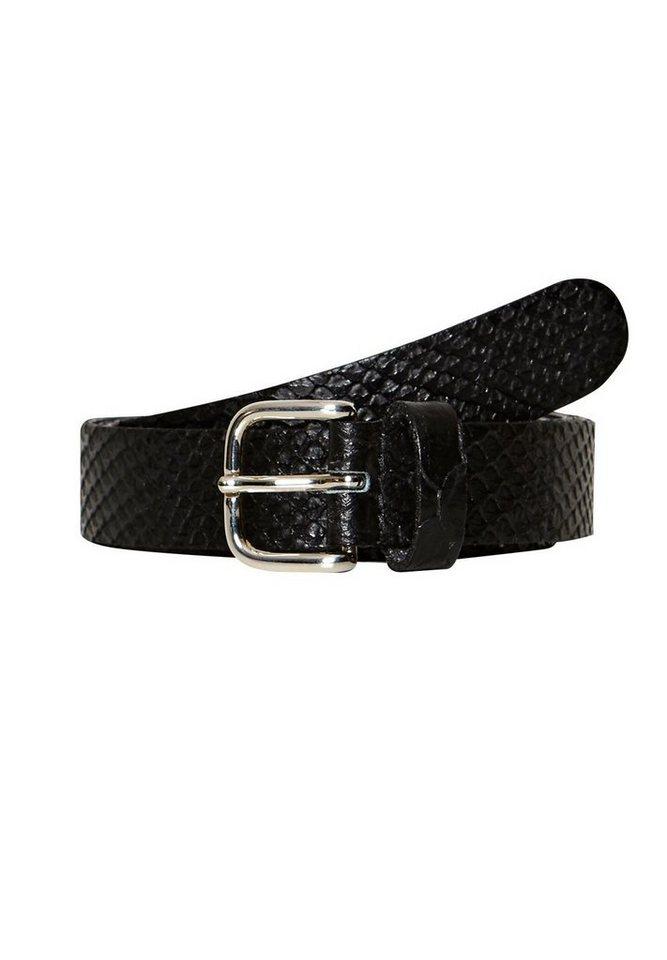 HALLHUBER Ledergürtel mit Snake-Prägung in schwarz