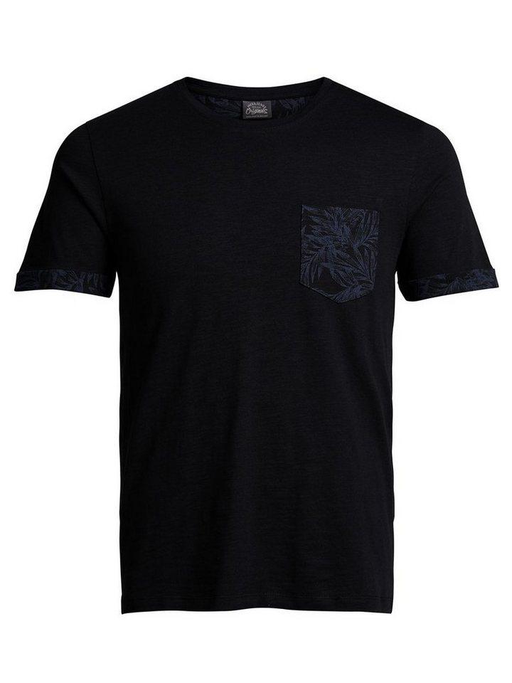 Jack & Jones Blumendetail- T-Shirt in Black