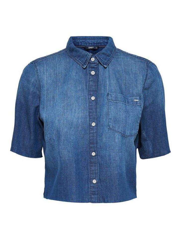 Only Kurz geschnittenes Jeanshemd in Medium Blue Denim