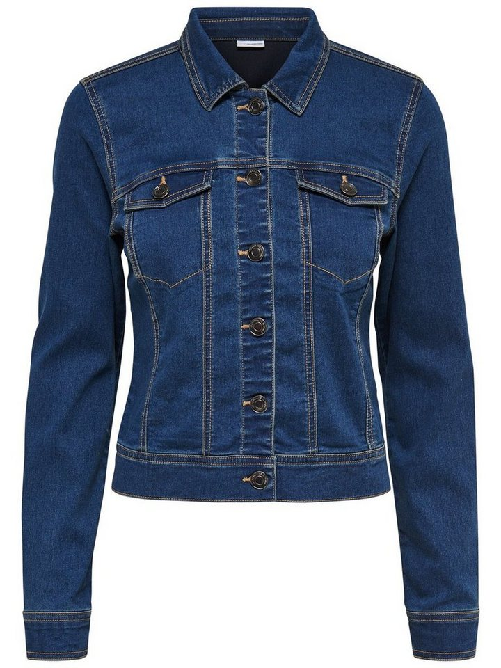Only Kurze Jeansjacke in Medium Blue Denim