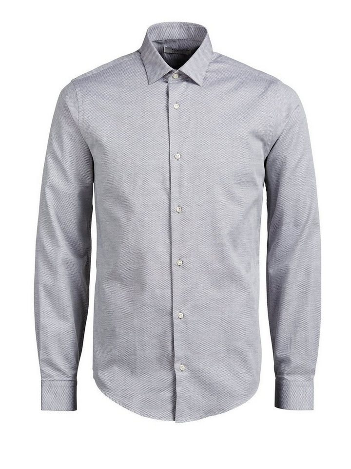 Jack & Jones Micromuster- Langarmhemd in Grey Melange