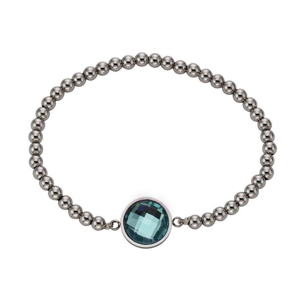 Zeeme Armband »Edelstahl Stretcharmband Glas mint« in mint