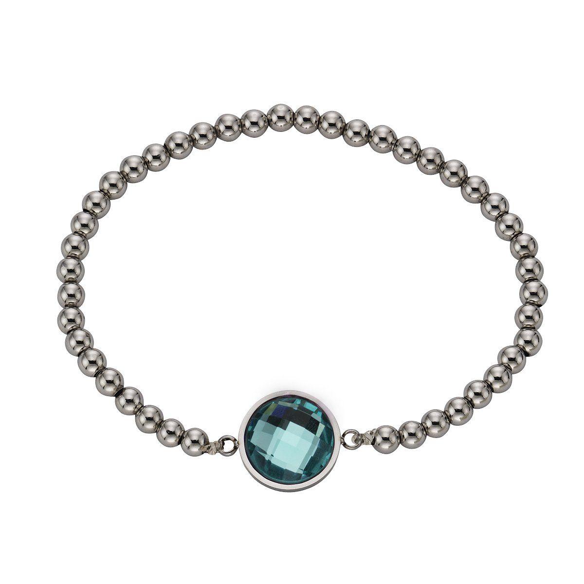 Zeeme Armband »Edelstahl Stretcharmband Glas mint«