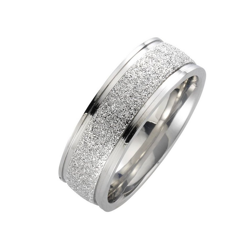 Zeeme Ring »Edelstahl gesandet glanz« in grau