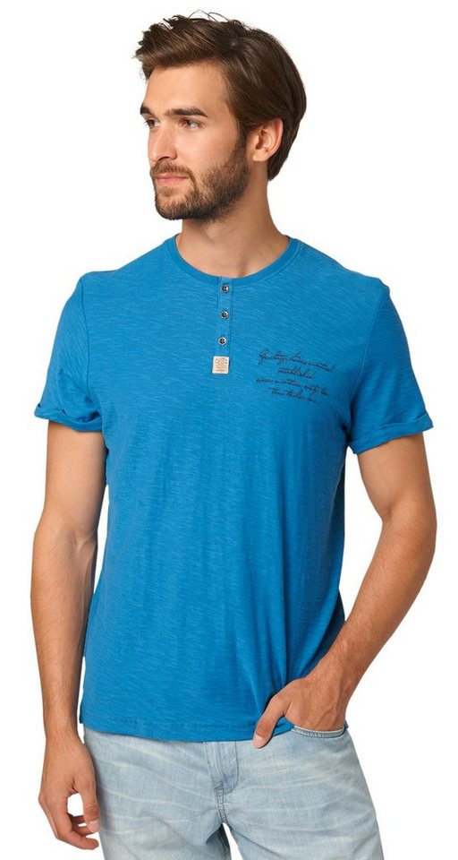 TOM TAILOR T-Shirt »Henley-Shirt mit Schrift-Stickerei« in dark celeste blue