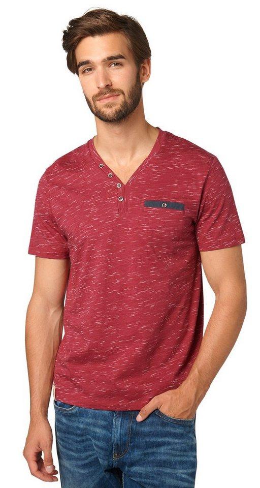 TOM TAILOR T-Shirt »Serafino-Shirt mit dezentem Muster« in tile red