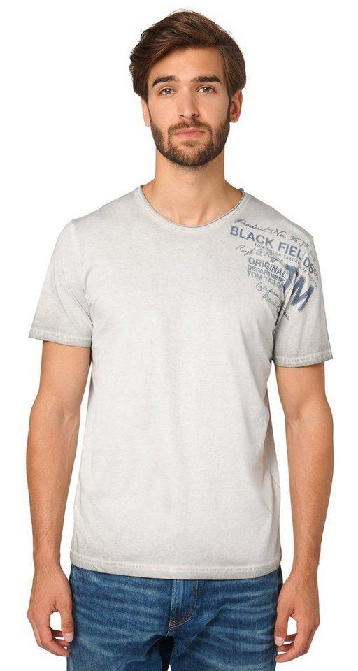 TOM TAILOR T-Shirt »T-Shirt mit Schrift-Print« in frost ash