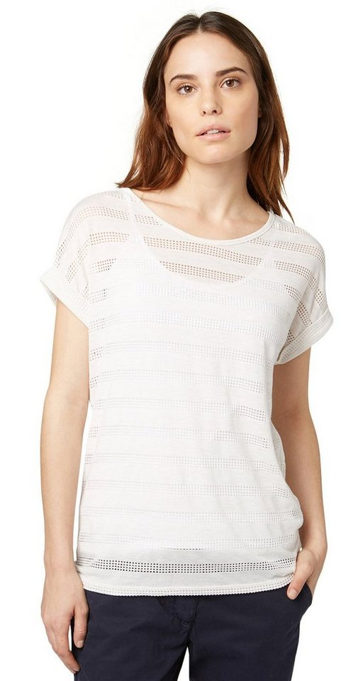 TOM TAILOR T-Shirt »charming structured shirt« in whisper white