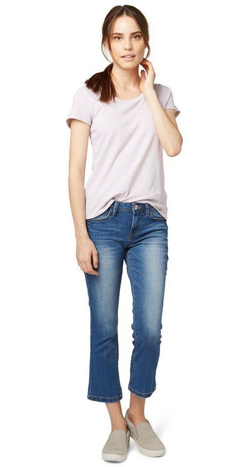 TOM TAILOR Jeans »7/8 Jeans in Used-Optik« in dark stone wash deni