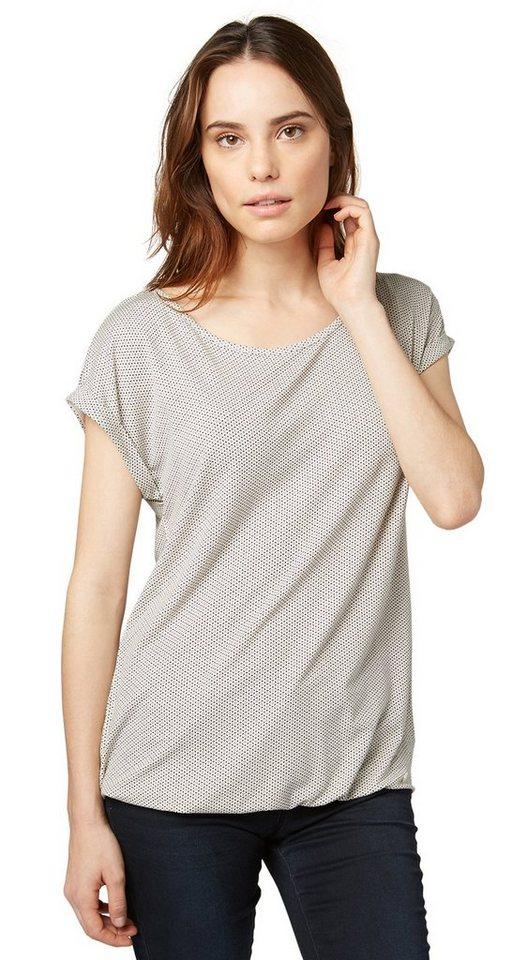 TOM TAILOR T-Shirt »charming print shirt« in whisper white