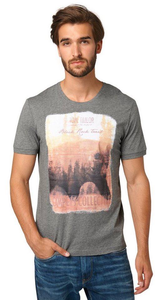 TOM TAILOR T-Shirt »Melange-Shirt mit Print« in rock mass grey melan