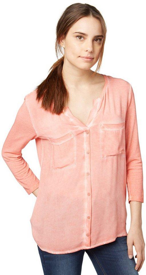 TOM TAILOR T-Shirt »Blusen-Shirt mit starker Waschung« in Peach Blush