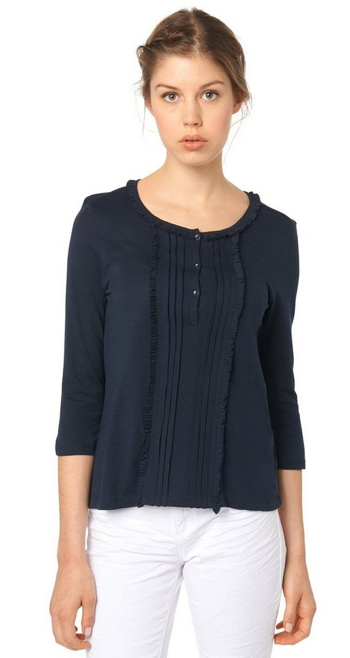 TOM TAILOR DENIM T-Shirt »feminines Shirt mit Rüschen-Details« in sky captain blue