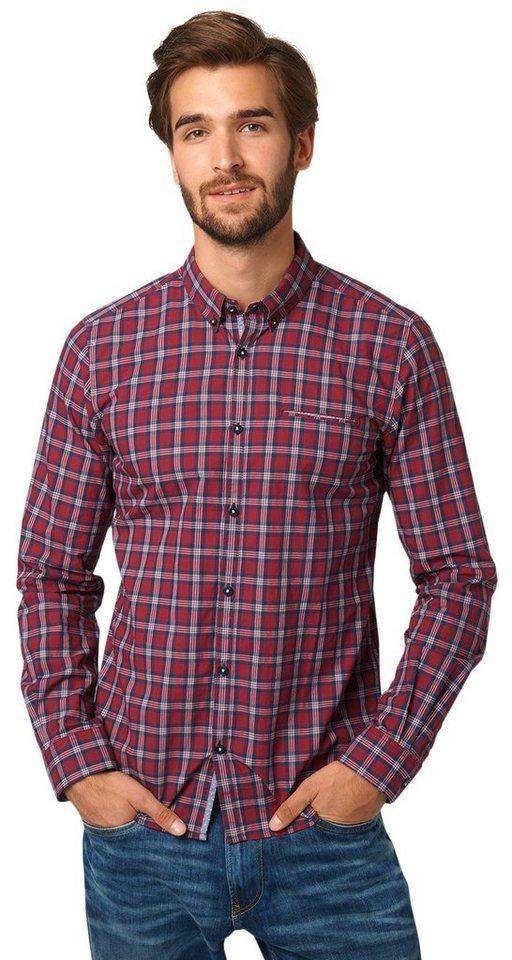 TOM TAILOR Hemd »kariertes Button-Down-Hemd« in tile red