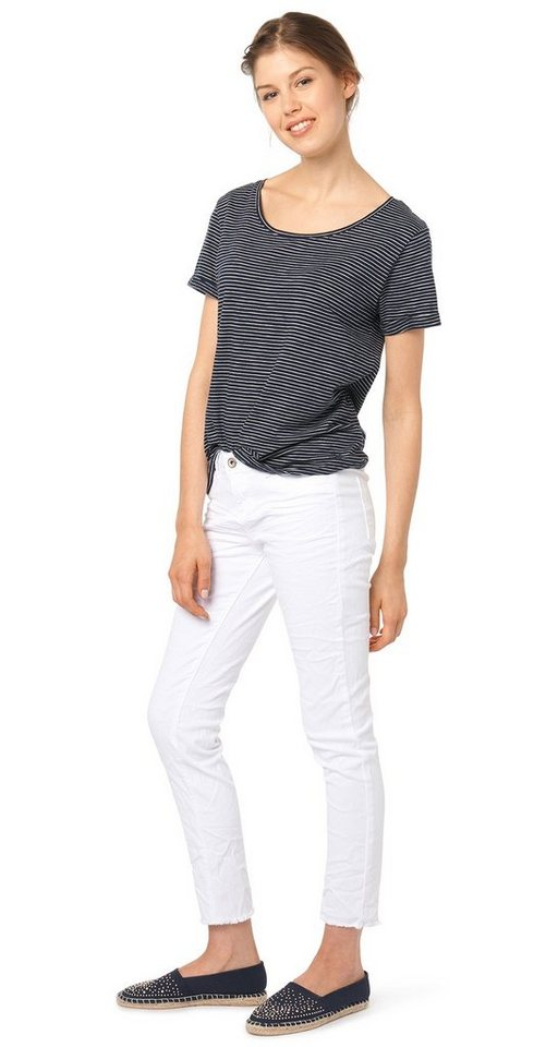 TOM TAILOR DENIM Jeans »Used-Jeans mit Crinkles« in white