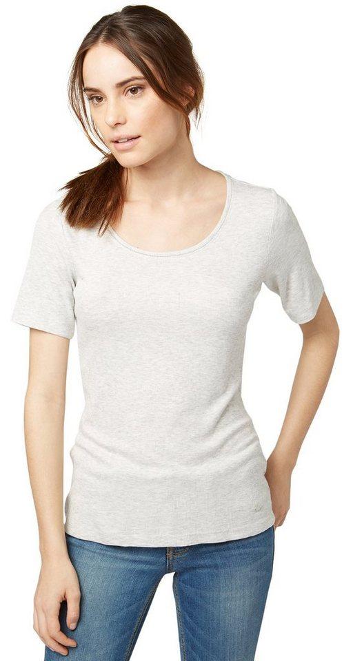 TOM TAILOR T-Shirt »Ripp-Shirt mit elegantem Metallband« in bleached grey melang
