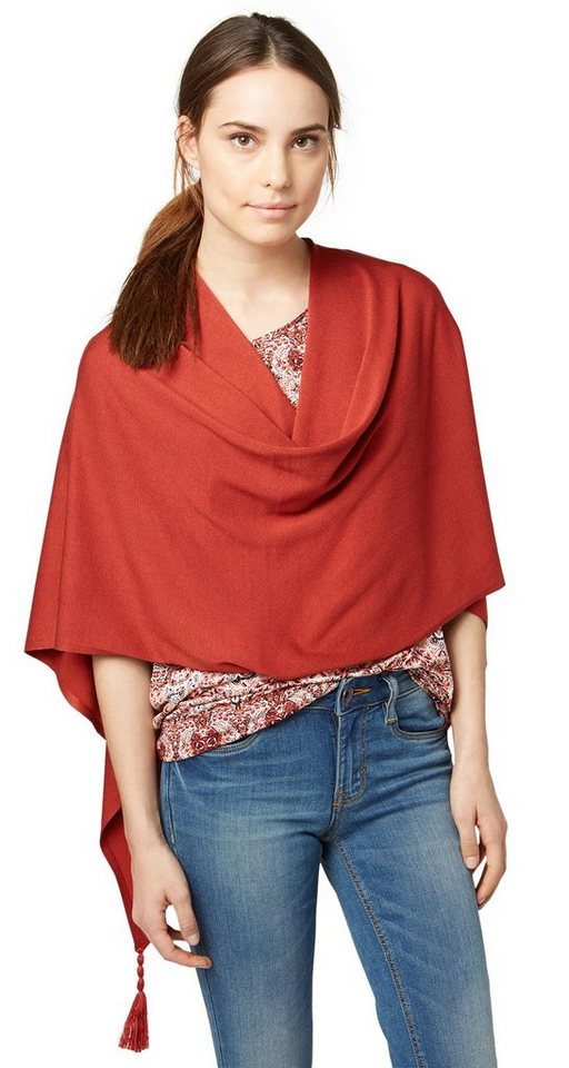 TOM TAILOR Schal »Strick-Poncho mit Quasten-Detail« in velvet red