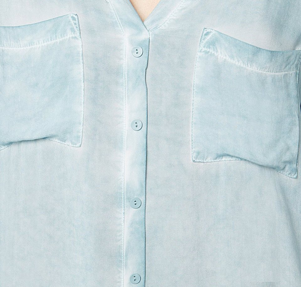 TOM TAILOR T-Shirt »Shirt mit Overdyed-Waschung« in Light Mineral Blue
