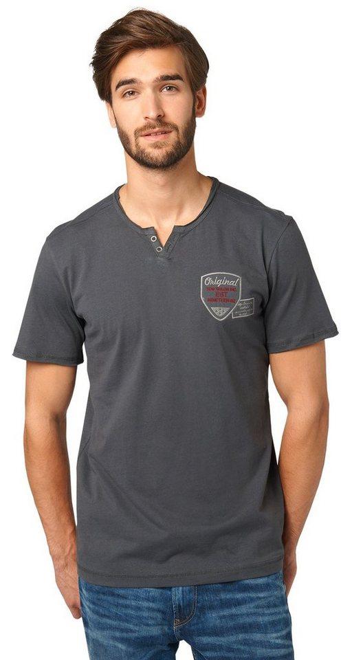 TOM TAILOR T-Shirt »Henley-Shirt mit Stickerei« in tarmac grey