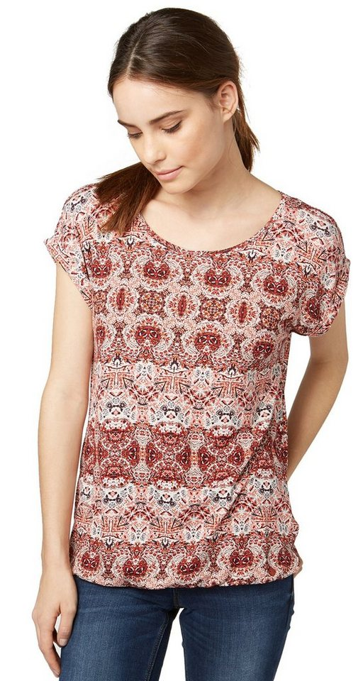 TOM TAILOR T-Shirt »T-Shirt im Bohemian-Stil« in velvet red